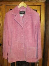 TERRY LEWIS CLASSIC LUXURIES PINK LEATHER SUEDE BUTTON LINED JACKET - SMALL