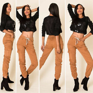 women franch brand NINA CARTER Cargo pockets jeans, ladies elasticated trousers.