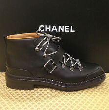 CHANEL LACE UP BLACK QUILTED BOOTS SHOES EU 41,5