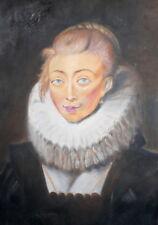 Vintage oil painting lady portrait