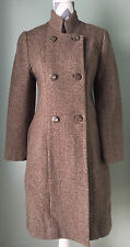 Vintage Womens Brown Wool Tweed Form Fitted Trench Over Coat Jacket Size 6-8 EUC