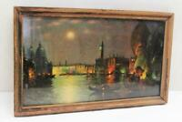 Vintage Print Litho Framed Unsigned Water Gondolas Italy Moonlight