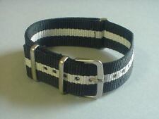 Black/White Skunk Bond 20mm G10 Military strap for Timex Weekender Watch & m0re
