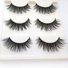 New 3 Pairs Luxurious 3D False Eyelashes Cross Natural Long Eye Lashes Makeup