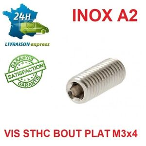 10 VIS SANS TETE INOX A2 STHC (BTR) M3 x 4 MM BOUT PLAT DIN 913