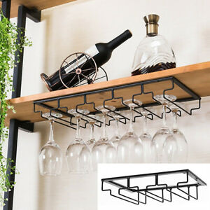 Fcoson wall Mouned Wine Glass holder 2 Rows Stainless Steel Hanging Glass Rack Stemware Drying Racks Bronze