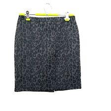 Ann Taylor Loft Womens 4 Petite Animal Cheetah Print Pencil Straight Skirt Gray