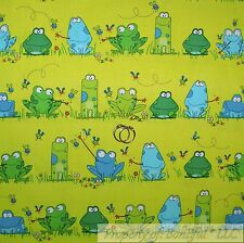 BonEful FABRIC FQ Cotton Quilt Green Blue Water FROG Fly Cartoon Stripe Dot Boy