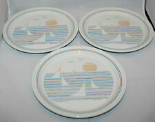 Set of 3 Vintage Figgjo Norway Regatta 8 inch Salad Side Plates Beach Sunset (A)