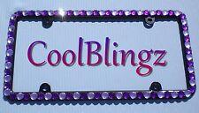 BIG PURPLE and LAVENDER Rhinestone Crystal Bling License Plate (BLACK) Frame