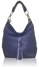Italian blue calf leather hobo  handbag  by Vittoria Pacini