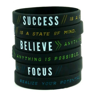 Success Focus Believe Motivational Wristbands Men Bracelet Silicone Band Bangle