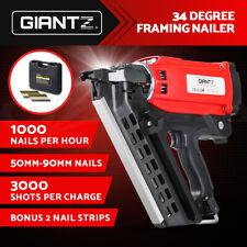 Giantz Cordless Framing Nailer 34 Degree Gas Nail Gun Portable Battery Charger