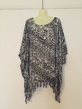 FREE SIZE up to 26 Black and white animal fringed poncho top
