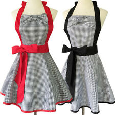 100% Cotton Checked Black and Red Bowknot Apron Kitchen Restaurant Cafe Uniform