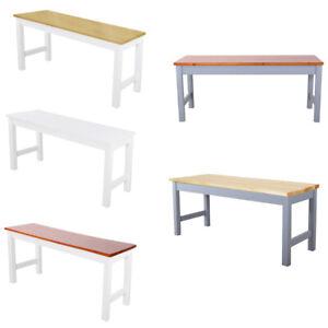 Modern Wooden Dining Long Bench Garden Stool Seat Metal Frame Kitchen Hallway uk