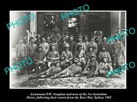 OLD LARGE HISTORIC PHOTO OF AUSTRALIAN BOER WAR SOLDIERS, 1st HORSE, SYDNEY 1901