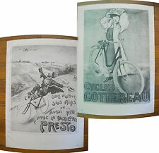 "1973 PRINT/POSTER/AD~1905 PRESTO BICYCLES~1905 COTTEREAU BIKES~16""x11"""