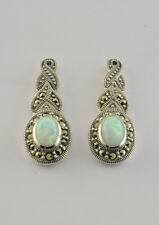 Swiss Marcasite and Opalique Drop Earrings set in 925 Sterling Silver