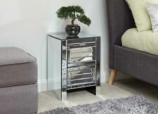 Antigua Mirrored Glass Louvered Chest of 2 Drawers Bedside Cabinet Nightstand