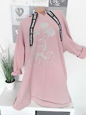 Italy Damen BIG Pullover Oversize Tunika Kleid Neu MickyMaus 52 54 56 rosa
