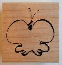 Simple Butterfly Rubber Stamp - Wood Mounted