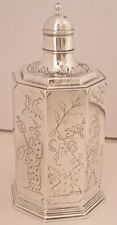 CRICHTON BROS ENGLISH STERLING CHINOISERIE ENGRAVED FIGURES COLOGNE BOTTLE 1910