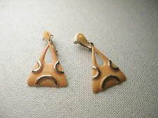 Vintage 1960's Flourescent Orange & Goldtone Triangular Hoop Clip Earrings -ART