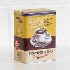 Classic Bean Coffee Retro Storage Tin 3 Litre Metal Kitchen Container Caddy Box