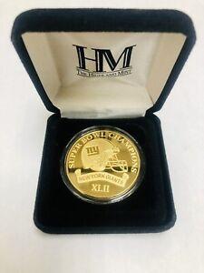 NEW YORK GIANTS SUPER BOWL XLII CHAMPIONS 24KT GOLD OVERLAY MEDALLION
