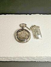 SILVER Antique COWBOY Design Cover Men Quartz Pocket Watch With Chain (NOB)