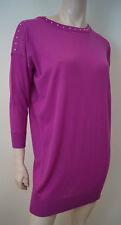 VERSACE Hot Pink 100% Wool Stud Neck Knitwear Jumper Dress / Long Top Sz:44 UK12
