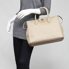 YSL YVES SAINT LAURENT gray beige Leather canvas MUSE TWO CABAS Tote Bag