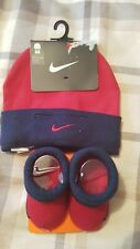 NIKE RED & BLUE BABY BOY BEANIE HAT & BOOTIES CRIB SHOES SET BNWT FREE UK P&P