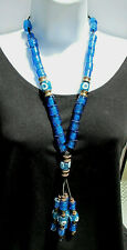 """Vintage Blue Glass Trade Bead Look Necklace Brass Spacers Black Cord 24"""" EUC"""