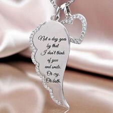Fashion Women Charm Jewelry Angel Wings Love Heart Pendant Chain Necklace Silver
