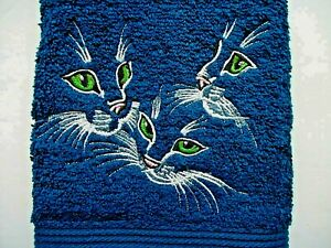 CAT - KITTEN  FACE DESIGN EMBROIDERED, BALTIC BLUE HAND TOWEL