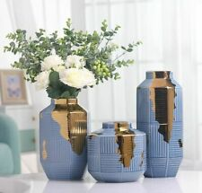 Nordic Ceramics Gold Blue Stripes Vase Home Living Rom Flower Decoration Vases