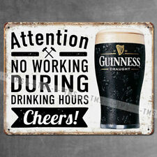 NO WORKING VINTAGE METAL SIGN GUINNESS BEER RETRO PLAQUE GARAGE BAR PUB MAN CAVE
