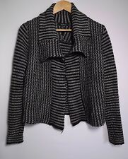 Portmans Women's Grey & Black Stripe Knit Cardigan - Size XS
