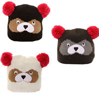 KIDS BOYS GIRLS BEAR FACE  KNITTED WINTER WOOLY BEANIE WITH POM POM WINTER HAT