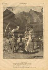 Sun Dial, Victorian, Fashions, Dress, Poem, Vintage 1879 Antique Art, Print,