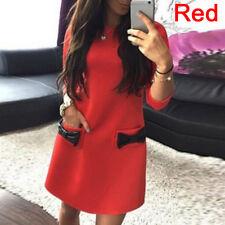 New Women Fashion Casual Slim Cute Dress Bow Lapel Half Seven Inch Sleeve DressJ