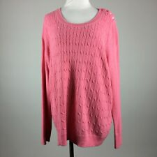 Talbots Woman Petite 3XP Pullover Sweater Pink Cable Knit Scoop Neck Long Sleeve