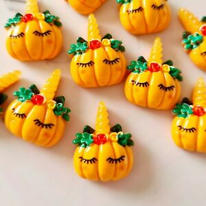 Pack of 10 Halloween Pumpkin Unicorn Flatbacks, Resins for Bow Making