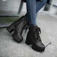 Ladies Rock Fashion Block High Heel Platform Rivet Shoes Lace Up Zip Ankle Boots