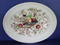 """Vtg Windsor Ware Johnson Brothers England Pomona Oval 10"""" Platter Fruit Floral"""