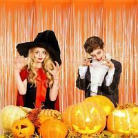Halloween Orange Foil Fringe Tinsel Curtains Photo Backdrop Party Decorations