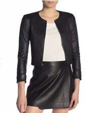 Theory Morene Black Cropped Lamb Leather Zip Moto Jacket Round Neck Medium NEW