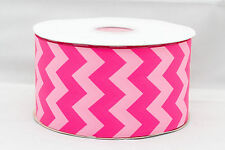"Pink Chevron 3"" 3 inch 75mm Grosgrain Ribbon per meter"